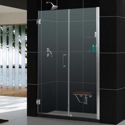 """DreamLine - DreamLine SHDR-20567210S-04 Unidoor Shower Door - DreamLine Unidoor 56 to 57"""" Frameless Hinged Shower Door, Clear 3/8"""" Glass Door, Brushed Nickel Finish"""
