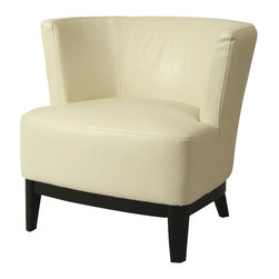 Pastel Furniture - Pastel Evanville Club Chair - Ballarat Black Wood - Bonded White Leather - The Evansville club chair exemplifies handsome proportions and bold character in this unique design. This chair is upholstered in bonded white leather with ballarat black wood legs. It's a beautiful and artful piece.