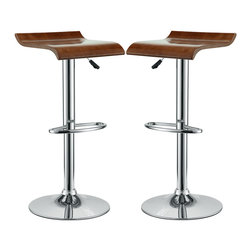 Modway - Modway EEI-936 Bentwood Bar Stools Set of 2 in Oak - The Bentwood Bar Stool is constructed of a chromed steel frame and base. It has a bent plywood seat with natural wood finishes. This stool operates on an adjustable hydraulic piston. This item is made similar in style to the award winning LEM Piston Stool. Perfect for entertaining guests at your own bar at home, or for stylish seating around the counter.