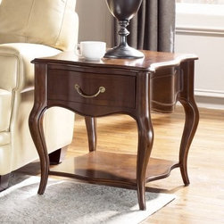 """American Drew Cherry Grove The New Generation End Table - A new generation of style is apparent in the American Drew Cherry Grove The New Generation End Table - embrace it. This durable end table is crafted of high-quality engineered wood, finished in an exquisite mid-tone brown finish, and outfitted with a spacious storage drawer.About American DrewFounded in 1927, American Drew is a well-established, leading manufacturer of medium- to upper-medium-priced bedroom, dining room, and occasional furniture. American Drew's product collections cover a broad variety of style categories including traditional, transitional, and contemporary. Their collections range from the legendary 18th-century traditional """"""""Cherry Grove,"""""""" celebrating its 42nd year of success, to the extremely popular """"""""Bob Mackie Home Collection,"""""""" influenced by the world-renowned fashion designer Bob Mackie. """"""""Jessica McClintock Home"""""""" features another beloved designer bringing unique style to an American Drew line. American Drew's headquarters are located in Greensboro, N.C. Their products are distributed through thousands of independently owned retailers throughout the United States and Canada and around the world."""