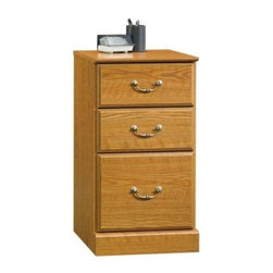 Sauder - Orchard Hills 3 Drawer Pedestal File Cabinet - 2 Small drawers with metal runners and safety stops. Lower drawer with full extension slides holds letter-size hanging files. Patented T-lock drawer system. Made of engineered wood. Assembly required. 16 in. W x 16 in. D x 29 in. H