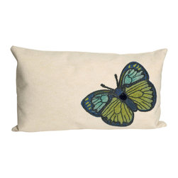 "Trans-Ocean - Butterfly Green Pillow - 12""X20"" - The highly detailed painterly effect is achieved by Liora Mannes patented Lamontage process which combines hand crafted art with cutting edge technology.These pillows are made with 100% polyester microfiber for an extra soft hand, and a 100% Polyester Insert.Liora Manne's pillows are suitable for Indoors or Outdoors, are antimicrobial, have a removable cover with a zipper closure for easy-care, and are handwashable."