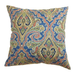 """The Pillow Collection - Iberia Paisley Pillow Blue Gold 18"""" x 18"""" - Create a playful atmosphere in your bedroom or living room with this colorful throw pillow. This accent pillow features a beautiful paisley print pattern in a Blue/Gold color palette. The lovely colors of blue, orange, yellow and green makes this a refreshing accent piece. This contemporary decor pillow is crafted from 100% high-quality cotton fabric. Hidden zipper closure for easy cover removal.  Knife edge finish on all four sides.  Reversible pillow with the same fabric on the back side.  Spot cleaning suggested."""