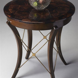 Butler - Loft 24 in. Round Accent Table - Spiderweb X-stretchers. Decadent pen-shell fossil-stone top. Gently curved legs. Made from gmelina wood solids and metal accents. Made in Philippines. 24 in. Dia. x 25.5 in. H (115 lbs.)This accent table exudes style. These contemporary styles represent a convergence of several of Butler's fashion-forward collections with an emphasis on today's casual lifestyle designs. Styles here are defined by clean, classic lines and sophisticated finishes with some occasionally exotic materials.