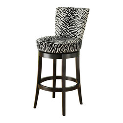 Armen Living - Armen Living Boston 26 Inch Black Zebra Fabric Swivel Barstool - Armen Living - Bar Stools - LC4044BAZE26 - Spice up your life with the exotic look of the Boston Swivel Barstool in black zebra fabric. Features copper nail accents add incomparable value to sophisticated style. Black wood base.