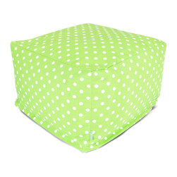 Majestic Home - Indoor Lime Small Polka Dot Large Ottoman - A whole lotta dots on this awesome ottoman add up to cool style and versatility. You can use it as a seat, footstool or coffee table — and talk about easy care: Just unzip the cotton twill slip and pop it in the wash.