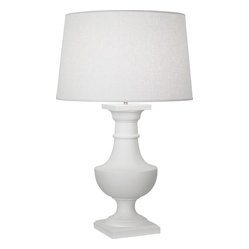 Robert Abbey - Bronte Table Lamp - Sometimes silence is more powerful than noise. The height of understated and alluring at the same time, this snow-white beauty says a lot without saying much at all. With its pure white construction and modern interpretation of a classic shape, this lamp will illuminate your room all day long, whether or not you've turned it on.