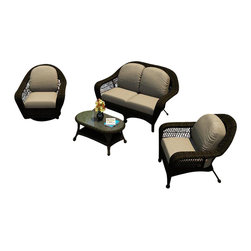Forever Patio - Catalina 4 Piece Traditional Sofa Set, Sable Wicker, Mushroom Cushions - The elegant 4 Piece Catalina Sofa Set with Beige Sunbrella Cushions (SKU FP-CAT-4SS-SB-MS) is perfect for entertaining company or simply relaxing in the comfort of your own patio. This set features Sable wicker with a full round design that creates a complex and luxurious look. Every strand of this wicker is made from High-Density Polyethylene (HDPE) and is infused with its natural color and UV-inhibitors that prevent cracking, chipping and fading ordinarily caused by sunlight. The set is supported by a thick-gauged, powder-coated aluminum frame that makes it extremely durable and resistant to corrosion. Also included are cushions covered in fade- and mildew-resistant Sunbrella® fabric. The cushions are incredibly plush, and the generous seat sizes ensure your comfort for hours of outdoor relaxation.