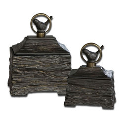 """Uttermost - Birdie Metallic Gray Boxes, Set of 2 - Metallic Gray Ceramic Boxes With Antiqued Bronze Metal Accents. Removable Lids. Sizes: Sm-6x8x4, Lg-8x10x6; Collection: Birdie; Designer: Billy Moon; Material: Ceramic & Metal; Finish: Metallic Gray Ceramic With Antiqued Bronze Metal Accents. Removable Lids.; Dimensions: 6.25""""D x 8""""W x 9.75""""H; Uttermost's Decorative Boxes Combine Premium Quality Materials With Unique High-style Design.; With The Advanced Product Engineering And Packaging Reinforcement, Uttermost Maintains Some Of The Lowest Damage Rates In The Industry. Each Product Is Designed, Manufacturered And Packaged With Shipping In Mind."""