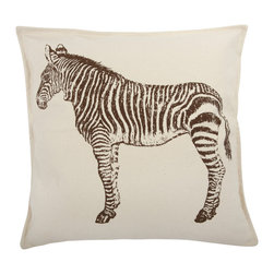 Thomas Paul - Zebra Canvas Pillow, Java - If only it was possible to sew all the Thomas Paul pillows together into a sofa. It would be the most talked about sofa in town. All the bright colored fauna and flora, the patchwork of silk and linen--it would truly be a masterpiece. The only thing that keeps us from doing this is--we don't know how to sew. And then there is that business about somehow attaching legs. We're even more clueless on how to do that.