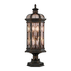 Fine Art Lamps - Devonshire Outdoor Pier Mount, 414483ST - A beacon to family and guests alike, this handsome old-world exterior pier-mount will make a welcome addition to your home's facade. The antiqued bronze finish with subtle gold accents frames textured seedy glass panes.