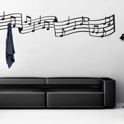Coat rack wall decals - Dezign with a Z Music Notes Coat rack was designed for the music lovers out there. This self-adhesive decal will make a huge impression in your music class, music studio, music theme party, house, office…The removable Music Notes decals rack comes with two black metal hooks and screws. You can use them as ordinary decal or as coat hanger stickers. This fashionable Music Note coat rack is available in 4 sizes and 24 different colors. The starting price is $48.