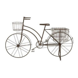 Benzara - Antique Metal Bicycle Planter - Antique metal bicycle planter. This antique metal bicycle planter is a unique addition to your garden and will be the talk of your friends and guests when they come to visit. The dimensions of the antique bicycle planter are: 63 x 18.5 x 39. Some assembly may be required.