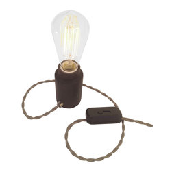 Modkom Interior Decor - The Accent Lamp, Wenge Wood, Half Silver Bulb - Distinct accent lamp for a side table, bar counter, night stand or credenza. Comes in striped Walnut/Ash, Wenge or Black Walnut woods. All lamps have colored fabric wires with a dimmer switch for atmospheric lighting.