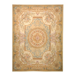 """Safavieh - French Tapis Green/Brown Area Rug FT223A - 2'3"""" x 12' - Hand-tufted in China, the French Tapis Collection uses traditional French floral designs combined with today's in-style colors."""