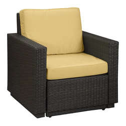 Home Styles - Home Styles Riviera Arm Chair in Harvest - Home Styles - Outdoor Chairs - 580250 - Riviera Arm Chair Harvest colored Fabric -Finally!!  An economical solution for upscale outdoor furniture��_.ready-to-assemble synthetic resin wicker. Body construction consists of Cycroplene a synthetic resin wicker in a deep brown color with a gold streak design woven over rust-resistant powder-coated aluminum frames.  Cycroplene is a 100% recyclable moisture and weather resistant low maintenance material.  All pieces feature shaped legs with adjustable levelers to accommodate uneven surfaces.  All seating pieces bolt together for additional support and sturdiness. Cushions fabric is stain resistant fade resistant water repellent and requires very little maintenance.