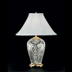 "Waterford Crystal - Waterford Crystal Kilkenny Table Lamp 204651310 - Waterford Kilkenny Table Lamp  -  This stunning Table Lamp brings radiance to any desk or bedside table. Polished Brass Finish details complement the intricate detailing of the Kilkenny pattern's signature cuts, while the White Coolie Shade beautifully diffuses the light from an up to 150 watt bulb.  -  Don't Buy From An Unauthorized Dealer  -  Genuine Waterford Crystal  -  Size: 29"" x 21""  -  Fully Authorized U.S. Waterford Crystal Dealer  -  Brand New In The Original Waterford Crystal Box  -  Each Piece Is Checked 4 Times To Ensure It Arrives In Perfect Condition  -  Stamped With The Waterford Seahorse Symbol Of Excellence  -  Waterford Crystal Table Lamps Collection  -  Waterford Crystal UPC Number: 91571128606"