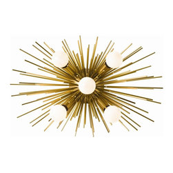 Arteriors - Zanadoo Sconce, Antique Brass - An adaptation of one of our most popular chandeliers, this antique brass or polished nickel sconce has five lights and can be hung horizontally or vertically.  This product is appropriate for an interior or exterior location that is subject to condensation or moisture such as a bathroom, indoor pool, or covered patio.  Takes five 25 w B10 incandescent bulbs.  Bulbs not included.