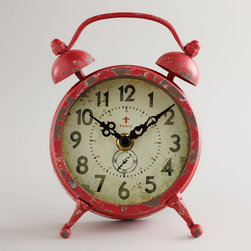 Red Vintage-style Magnet Clock - This is such a fun retro clock. And it's red!