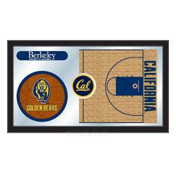 "Holland Bar Stool - Holland Bar Stool Cal Basketball Mirror - Cal Basketball Mirror belongs to College Collection by Holland Bar Stool The perfect way to show your school pride, our basketball Mirror displays your school's symbols with a style that fits any setting.  With it's simple but elegant design, colors burst through the 1/8"" thick glass and are highlighted by the mirrored accents.  Framed with a black, 1 1/4 wrapped wood frame with saw tooth hangers, this 15""(H) x 26""(W) mirror is ideal for your office, garage, or any room of the house.  Whether purchasing as a gift for a recent grad, sports superfan, or for yourself, you can take satisfaction knowing you're buying a mirror that is proudly Made in the USA by Holland Bar Stool Company, Holland, MI.   Mirror (1)"