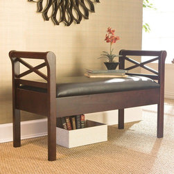 "Wildon Home � - Warrenton Entryway Storage Bench - Features: -Straight legs.-Solid wood frame.-Black PVC faux leather seat.-Espresso finish.-Seating Capacity: 2.-Arms Included: Yes.-Back Included: No.-Number of Items Included: 1.-Cushions Included: No.-Lid Included: Yes -Hinged: Yes.-Safety Hinge: Yes..-Skirted: No.-Slipcover: No.-Upholstered: Yes -Upholstery Material: Faux Leather.-Upholstery Color: Black.-Tufted Upholstery: No.-Nailhead Trim: No..-Stackable: No.-Foldable: No.-Tray Included: No.-Powder Coated Finish: No.-Storage Included: Yes -Number of Storage Compartments: 1..-Material: Solid wood frame, PVC faux leather seat.-Solid Wood Construction: Yes.-Outdoor Use: No.-Legs Included: Yes -Leg Material: Solid wood.-Removable Legs: No..-Swatch Available: No.-Commercial Use: No.-Finish: Espresso.-Hand Painted: No.-Distressed: No.-Recycled Content: No.-Eco-Friendly: No.-Product Care: Wipe with a clean dry cloth.Specifications: -FSC Certified: No.Dimensions: -Overall Height - Top to Bottom: 26"".-Overall Width - Side to Side: 42"".-Overall Depth - Front to Back: 18"".-Arms: -Arm Height - Top to Bottom: 26"".-Arm Depth - Front to Back: 18""..-Legs: Yes.-Storage Compartment: -Storage Compartment Height - Top to Bottom: 4"".-Storage Compartment Width - Side to Side: 18"".-Storage Compartment Depth - Front to Back: 16""..-Overall Product Weight: 38 lbs.Assembly: -Assembly Required: Yes.-Tools Needed: Phillips screwdriver #2.-Additional Parts Required: No.Warranty: -Product Warranty: 1 year limited manufacturer warranty."
