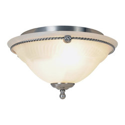 Premier - Three Light Torino 14 inch Flush Mount - Brushed Nickel - Premier 617026 14in. D by 8in. H Torino Lighting Collection 3 Light Ceiling Flush Mount, Brushed Nickel.