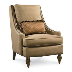 Pemberleigh Acccent Chair, Beautiful Brandy - Alone or paired, this upholstered accent chair is a stately complement to the traditional living room or study. Glamorous nailhead trim adorns the track arms and bottom edging of the chair while beautiful exposed carved wood legs add dimension. The included throw pillow is easy to change out with the seasons and adds a chic touch to this beautiful arm chair.