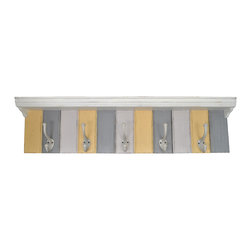 Enchante Accessories Inc - Solid Wood Modern Floating Wall Shelf with 5 Iron Coat Hooks (Grey/Yellow) - An attractive and functional wall-mounted modern shelf for the home. Great for adding a touch of elegance for the home entry. The shelf has 5 Iron hooks for your coats hats and sweaters. The unique mounting system makes this shelf easy to install and highly functional.