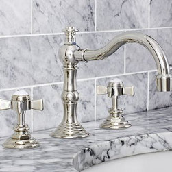 "Langford Faucet, Polished Nickel finish - Our faucet adds refined style to the bath with rounded cross-hatch handles and a graceful curving spout. Fits sink openings with an 8"" to 16"" widespread. Cast of solid brass with a thickly plated finish. A pre-installed aerator restricts water flow to 2 gallons per minute. Professional installation required. {{link path='pages/popups/install_langford_popup.html' class='popup' width='720' height='350'}}Learn more{{/link}} about how to install this faucet. Catalog / Internet Only. Made in the USA."