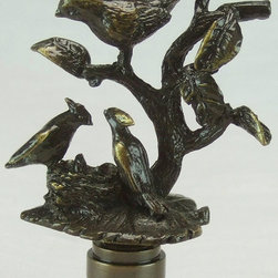 LampsUSA Finials - Extra Large Antique Brass Three Birds in Nest - A new lamp finial is the perfect way to complete your new or favorite lamp. All finials have a standard 1/4-27 thread--which will fit the harp on almost every lamp.