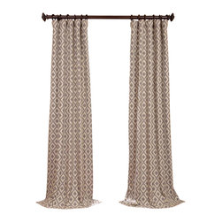 Exclusive Fabrics & Furnishings, LLC - Athena Stone Jacquard Curtain - Delicately patterned, these faux silk drapes frame your windows much like a painting is framed. Fully lined, the three-inch pole pocket allows for easy hanging and a clean drape.