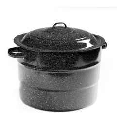 Granite Ware - Granite Ware 21 Quart Steel Water Bath Canner - F0707-1 - Shop for Stock Pots & Slow Cookers from Hayneedle.com! The Granite Ware F0707-1 21 Quart Steel Water Bath Canner makes it easy to enjoy your favorite home-grown fruits and vegetables all year long! Easy to use and made of durable porcelain over steel this huge pot holds seven quart jars nine pint jars or 13 half-pint jars. The included wire jar rack makes lifting jars out easy and it's custom-fit to not waste any space. Loop handles on both the lid and the pot for extra safety and a domed lid traps in heat for more efficient processing. It's dishwasher-safe too! This canner has a slight indentation on the bottom so it works well on gas or electric stoves; for this reason it is not recommended for glass cooktops. This steel water bath canner provides an easy way to serve safe wholesome and delicious food! Dimensions: 16.25L x 10W x 14.25H inches. About Columbian Home ProductsNo one knows the ins and outs of the kitchen better than Columbian Home Products. Specialists in cookware bakeware canning pizza pans roasters and even tea kettles CHP sets high standards for all things delicious. From appetizer to dessert they have your cookware. Their central location in Lake Zurich IL means fast delivery.
