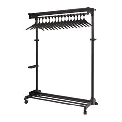 None - Alba Black Garment Rack with Theft Deterrent Hanging System - Prevent thieves from literally stealing your style with this sleek black garment rack by Alba. Durable powder coated steel construction,17 anti-theft coat hangers and eight accessory hooks come together for a mobile rack as stylish as your clothes.