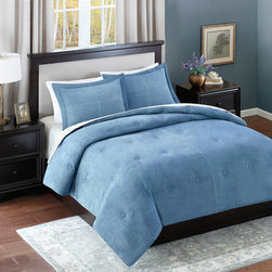 Avenue 8 - Avenue 8 Microsuede Comforter Mini Set - Add warmth and style to your current d̩cor with this solid Microsuede Comforter Mini Set. The comforter features a solid blue brushed microsuede fabric that has pick stitching details and a subtle circular tacking pattern to enhance this look. The sham(s) coordinate back to the comforter with the same pick stitch detail with a clean flange finish. Both reverses to a solid blue color made of soft microfiber fabric. 100% Polyester Micro suede