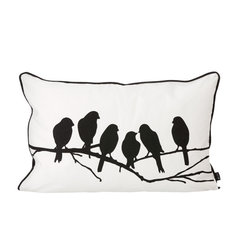 Ferm Living - Ferm Living Lovebirds Cushion - Dress up any seating area with this sweet accent pillow. Crafted from cotton canvas, it features soft feather and down filling for comfortable support, while silhouettes of songbirds add charming appeal.100% cotton canvasFeather and down filling60cm W x 40cm H
