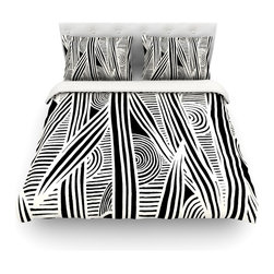 """Kess InHouse - Emine Ortega """"Graphique Black"""" Cotton Duvet Cover (King, 104"""" x 88"""") - Rest in comfort among this artistically inclined cotton blend duvet cover. This duvet cover is as light as a feather! You will be sure to be the envy of all of your guests with this aesthetically pleasing duvet. We highly recommend washing this as many times as you like as this material will not fade or lose comfort. Cotton blended, this duvet cover is not only beautiful and artistic but can be used year round with a duvet insert! Add our cotton shams to make your bed complete and looking stylish and artistic! Pillowcases not included."""