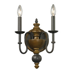 Elk Lighting - French Country 2-Light Sconce in Vintage Rust - Warm and elegant, this series features a two tone combination of solid wood, in a colonial maple finish, accented with vintage rust finished metalwork.