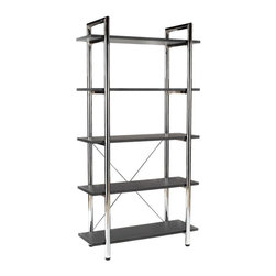Euro Style - Euro Style Laurence Black Leather 5-Shelf Metal Bookshelf - 27851 - Shop for Bookcases from Hayneedle.com! The Euro Style Ledah Black Leather 5-Shelf Metal Bookshelf will be the ideal setting for your collection of books and curios or useful in the kitchen too as storage or bakers rack. Chromed steel frame for durability and appeal Leather covered shelves for added appeal Four shelves for plenty of storage 68-inch height accommodates many books What We Like About This Bookshelf The shiny finish of the chrome frame will be the ideal backdrop for your classic-looking books and collectible items. The leather-wrapped shelves will provide ample display space. Because the shelves extend beyond the chrome frame you will have a little extra display area for those exceptional items. The combination of leather and chrome blend old and new traditional and modern in one lovely piece. The extraordinary design of this bookcase allows you to place it in an office or den wherever you want to show of your books and collectibles. The Laurence Leather 5-Shelf Bookcase has not only an abundance of shelf space but also an abundance of style. About Euro StyleEuro Style is more than a brand name. It's a complete design approach for furnishing the living room dining room kitchen and office. Most Euro Style furniture can be assembled in under 15 minutes. Some can be assembled in under five minutes. Assembly instructions and the few tools you might need come inside the carton. Today there are hundreds of Euro Style products with new ones arriving every month. You'll discover Euro Style offers the right design at the right price.