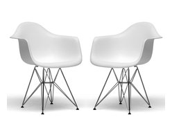 Baxton Studio - Baxton Studio Dario White Molded Plastic Chair Set of 2 - This versatile, contemporary chair is a barebones take on the shape of an armchair. The seat is made from a very heavy-duty, strong plastic with a matte finish and is supported by an equally strong steel base, which is covered with a layer of high-shine chrome. Four black feet are included to protect hardwood flooring. Very up-to-date, your inner sense of style will revel in the trendiness of this chair. Assembly is required.