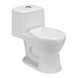 Renovators Supply - Children's Toilet White Kids Loo Child-size Toilet 1.25 gpf | 11886 - Child-size Toilets: Child-friendly- stylish one-piece toilet comes in a white finish. Accepts 12 inch rough-in for easy swap out- includes plastic seat and easy-reach top push-button flush. This juvenile sized toilet matches our WeeWash or Lil' Tykes' Lav pedestal sink- sold separately. Requires only 1.25 gallons of water per flush rather than the usual 1.6 gallons. Measures 19 1/2 H x 10 3/4 in. W x 12 in. rough-in.