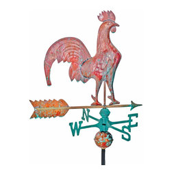 Renovators Supply - Weathervanes Raw Copper Rooster Weathervane w/Roof Bracket | 19420 - Rooster Weathervane. Daybreak Rooster Weathervane, an American classic! Handcrafted of 100% copper our weathervanes are full-bodied figures of superior quality unlike machine stamped ones that are made from lesser quality copper sheets. Unfinished copper oxidizes to a dark brown and then gradually weathers to a luxurious green verdigris within 5 to 10 years. Includes instructions, adjustable roof bracket, 40 inch black iron mounting pole, brass globe spacers and brass cardinal points (N, S, E, W) 18 inch end to end. Measures 21 inch h x 23 1/4 inch w.