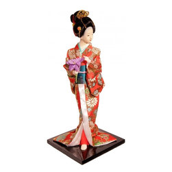 "n/a - 12"" H Japanese Ghesha Doll with Flowers in Red Silk Kimono - This unique ceramic 12""h Japanese geisha doll features a geisha with flower dressed in a traditional red and pink kimono, accented with metallic gold and green sash.  Each doll is handcrafted and her clothing is incredibly detailed. The face of the doll is quality crafted to give her realistic look. Use this Japanese geisha doll to add an Asian flair to your home or office. A great gift for the doll collector, this is a wonderful addition! Comes with a wooden black lacquer stand. We at oriental furnishings have 28 years of experience in the China trade. Shop with confidence with a industry leader."