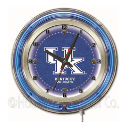 Holland Bar Stool - Holland Bar Stool Clk19UKY-UK Kentucky 19 Inch Neon Clock - Clk19UKY-UK Kentucky 19 Inch Neon Clock belongs to College Collection by Holland Bar Stool Our neon-accented Logo Clocks are the perfect way to show your school pride. Chrome casing and a team specific neon ring accent a custom printed clock face, lit up by an brilliant white, inner neon ring. Neon ring is easily turned on and off with a pull chain on the bottom of the clock, saving you the hassle of plugging it in and unplugging it. Accurate quartz movement is powered by a single, AA battery (not included). Whether purchasing as a gift for a recent grad, sports superfan, or for yourself, you can take satisfaction knowing you're buying a clock that is proudly made by the Holland Bar Stool Company, Holland, MI. Clock (1)