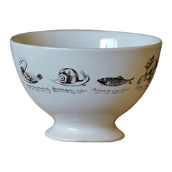 """Curiosite Bowl Set - Enjoy bringing the wildlife in without the mess. Inspired by the 18th century """"cabinets of curiosities."""" Our Curiosite Bowl Set of 6 bowls each decorated with assorted animals: snail, rabbit, duck, cat, swan and fish."""