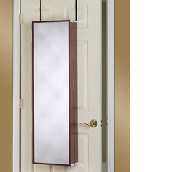 None - Over-the-Door Mirror Makeup Vanity Armoire - Solve your clutter problems with this over-the-door vanity. The Cleopatra over-the-door beauty armoire is a storage organizer for all of your makeup combined with a full-length mirror and fold-down table.