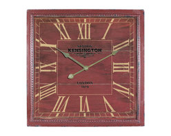 YOSEMITE HOME DECOR - 16 in. Square MDF Wall Clock distressed red wooden frame - This unusual wall clock adds a touch of warmth with its brick red color and distressed like finish. The frame has a braided embossed edge, gold roman numerals and hands.  The words Kensington Station is stamped in block lettering just below the twelve and right above the six is London 1879. Our wall clocks are sure to give any decor a touch of European chic.