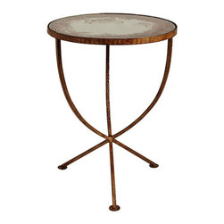 Arteriors Home - Arteriors Home Sojourn Iron/Mirror Table - Arteriors Home 4019 - Arteriors Home 4019 - Round iron accent table in burnished gold finish is supported by a trio of elegantly bowed legs and topped with antique mirror surface.