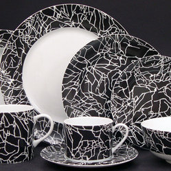 Tracery White on Black Dinnerware