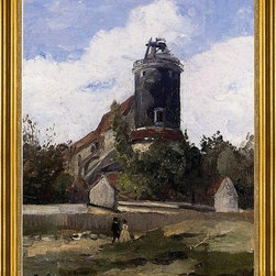 "Camille Pissarro-16""x20"" Framed Canvas - 16"" x 20"" Camille Pissarro The Telegraph Tower at Montmartre framed premium canvas print reproduced to meet museum quality standards. Our museum quality canvas prints are produced using high-precision print technology for a more accurate reproduction printed on high quality canvas with fade-resistant, archival inks. Our progressive business model allows us to offer works of art to you at the best wholesale pricing, significantly less than art gallery prices, affordable to all. This artwork is hand stretched onto wooden stretcher bars, then mounted into our 3"" wide gold finish frame with black panel by one of our expert framers. Our framed canvas print comes with hardware, ready to hang on your wall.  We present a comprehensive collection of exceptional canvas art reproductions by Camille Pissarro."