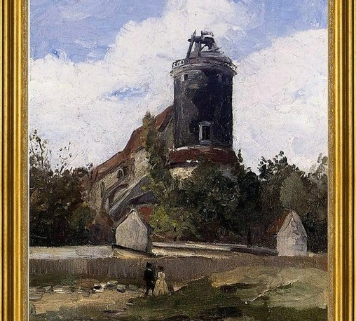 """Camille Pissarro-16""""x20"""" Framed Canvas - 16"""" x 20"""" Camille Pissarro The Telegraph Tower at Montmartre framed premium canvas print reproduced to meet museum quality standards. Our museum quality canvas prints are produced using high-precision print technology for a more accurate reproduction printed on high quality canvas with fade-resistant, archival inks. Our progressive business model allows us to offer works of art to you at the best wholesale pricing, significantly less than art gallery prices, affordable to all. This artwork is hand stretched onto wooden stretcher bars, then mounted into our 3"""" wide gold finish frame with black panel by one of our expert framers. Our framed canvas print comes with hardware, ready to hang on your wall.  We present a comprehensive collection of exceptional canvas art reproductions by Camille Pissarro."""